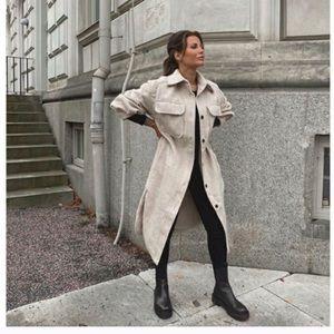 H&M Long Shirt Jacket Light Beige Melange